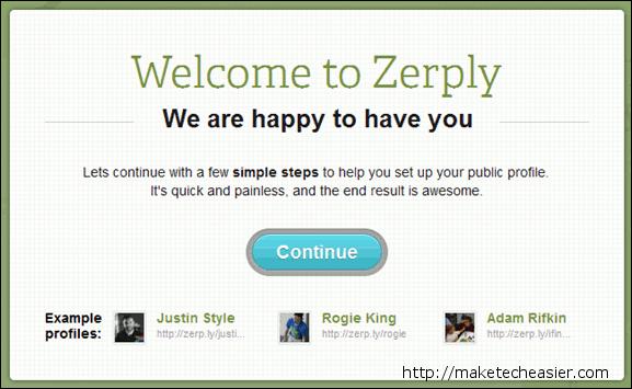 Zerply Welcome Screen