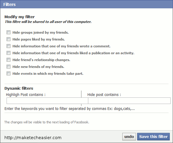 fb for chrome -  filters