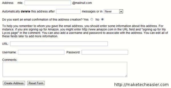 mailnull address setup - disposable email address