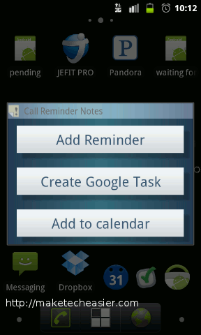 call reminder notes - after call options