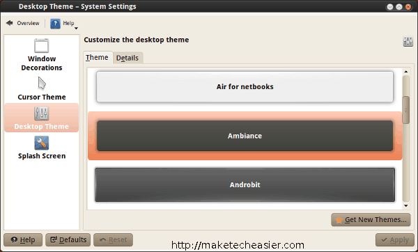 KDE Ambiance theme selection