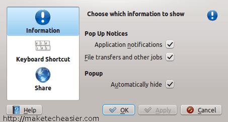 KDE notifications settings