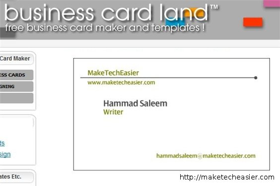 Business Card Land