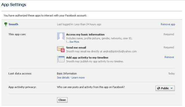 facebook timeline apps - app settings