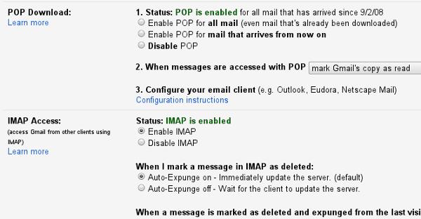 Gmail POP and IMAP settings