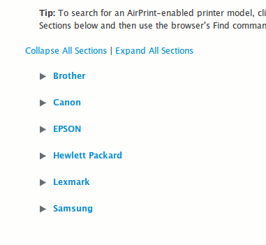 AirPrint-List