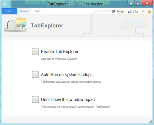 TabExplorer start screen
