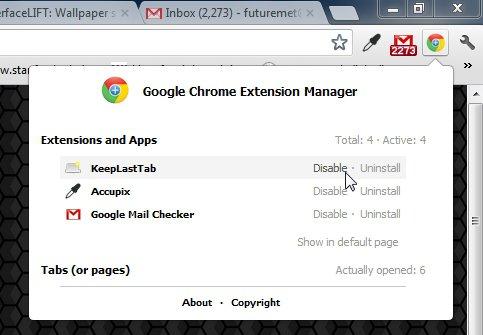chrome-manager-options