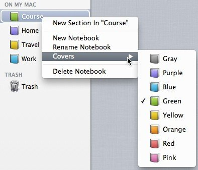 Noted's right click menu options for notebooks including covers.