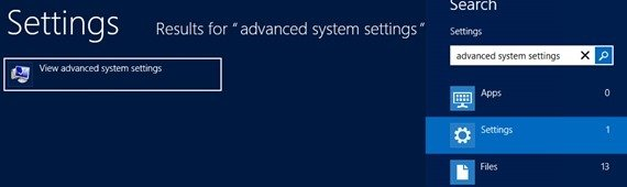 Advanced system settings Windows search
