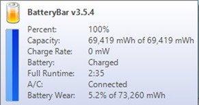 BatteryBar stats