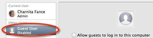 The Guest User account totally disabled on Mac OS X Mountain Lion.