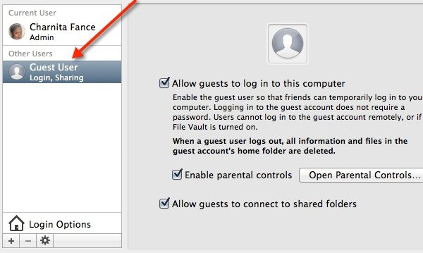 Select the Guest User account and uncheck all options.