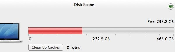 A freshly cleaned hard drive and deleted cashes via Disk Scope.