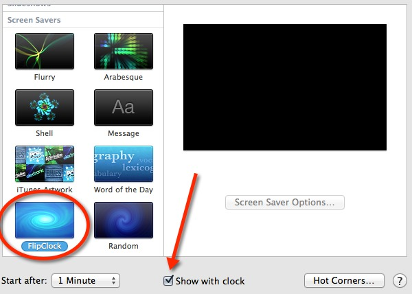 Select the FlipClock screen saver and disable the regular clock on the screen.