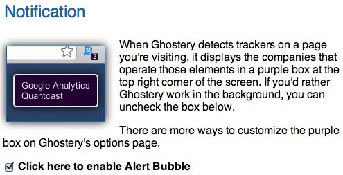 Enable or disable the Ghostery alert bubble.