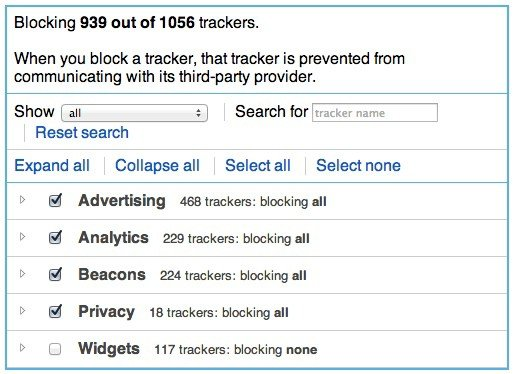 Choose which items to block in Ghostery.