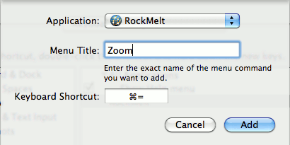 Setting the Keyboard Shortcut