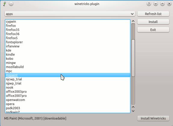 q4wine - install mspaint