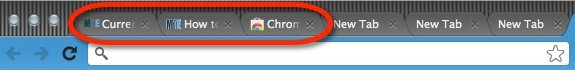 Google Chrome title bar with unreadable page titles.