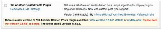 A message will alert you of new beta versions for WordPress Plugins.