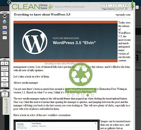 An print optimized Web page using CleanPrint.