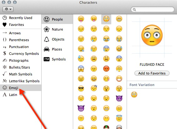 Select Emoji in the Special Characters window.