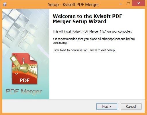 Install Kvisoft PDF Merger on your Windows computer.