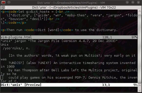 Vim plugins: Dict