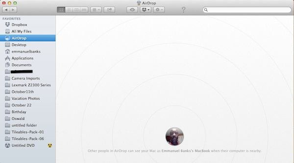 Airsdrop: via the Finder