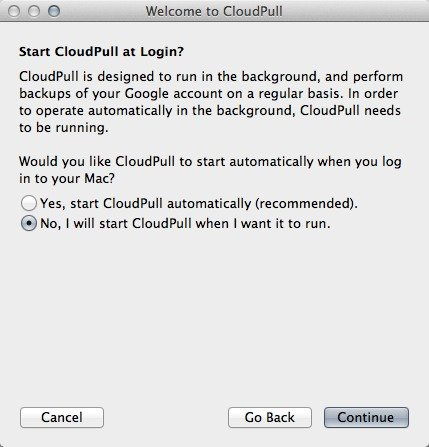 Choose to run CloudPull automatically or manually.
