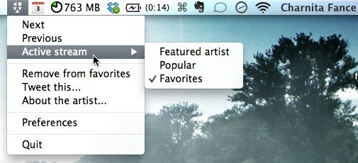 Change your active stream from the menu bar.