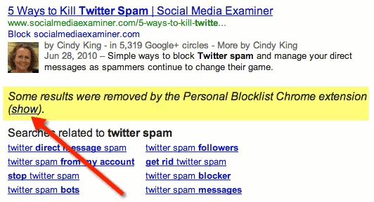 Click on the 'show' link to display results that have been removed from Google.
