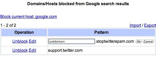 Edit your blocked domains and change them to subdomains.