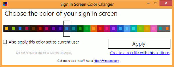 Change the color of your Windows 8 Sign In screen with this app.