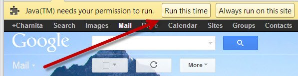 Give Java permission to run on Gmail.