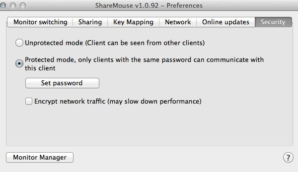 Use Share Mouse in Protected mode - only clients with the same password can communicate with your computer.