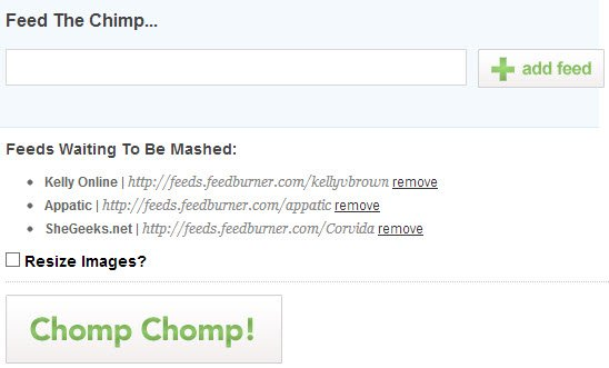 Add RSS feeds to ChimpFeedr one-by-one.