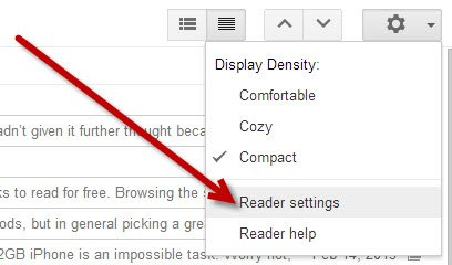 Click on the Gear icon in Google Reader and go to Reader settings.
