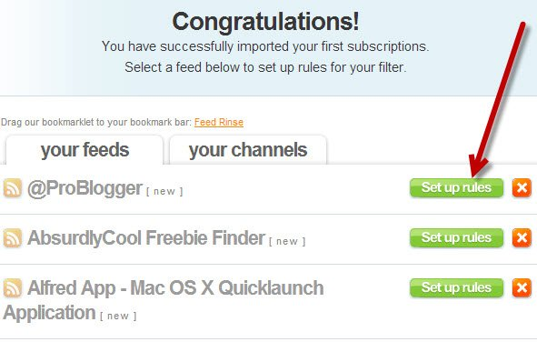You can set up rules for your feeds on an individual basis.