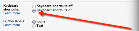 You'll find Keyboard Shorcuts above Button Labels in settings.