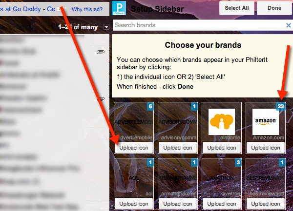 Choose the brands that you want to show in the PhilterIt sidebar.
