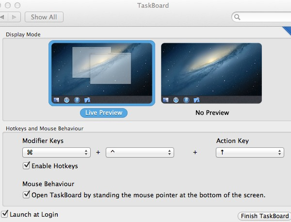 Customize TaskBoard in its preference pane.