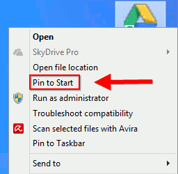 Integrate Google Apps to Windows8-pin-to-start