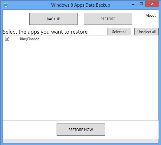 Choosing which Windows 8 apps to restore