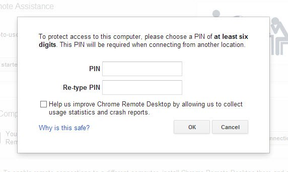 Create a PIN to be used when accessing your computer remotely.