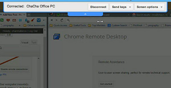 Your desktop when being viewed remotely, in a Chrome tab.