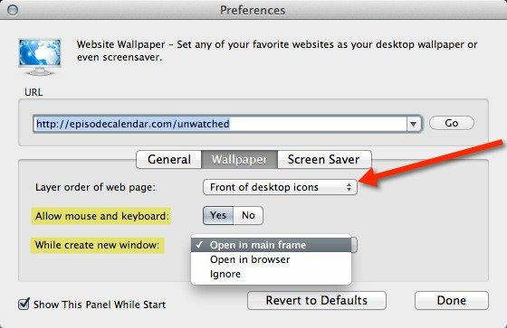 You can choose to enable or disable interactions with your desktop wallpaper.