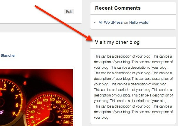 This is how your clickable widget title will look.