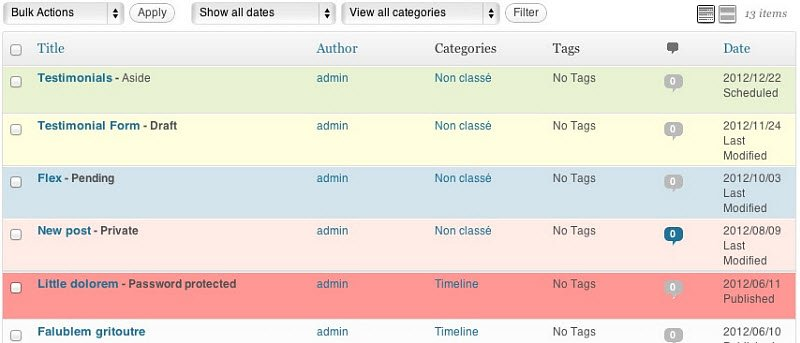 How to Color Code Your WordPress Posts Page